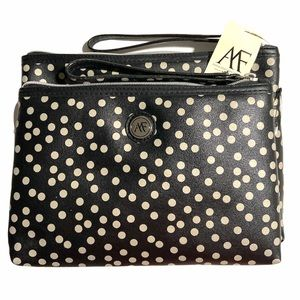 Anna Franco 2 Pcs Cosmetic Pouch Bags Polka Dots